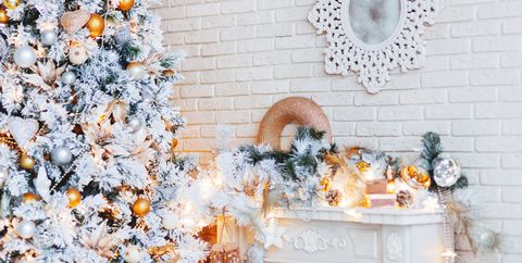 christmas and new year eve tree holiday winter background interior details mirror - Christmas Mantel Decorations Garland