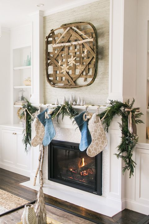 christmas mantel decorations rustic neutral