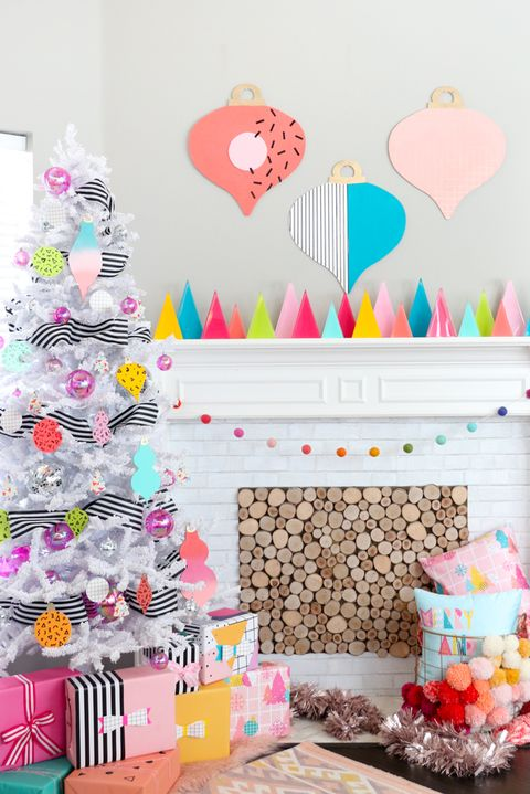 Christmas Mantel Ideas - Neon Mantle