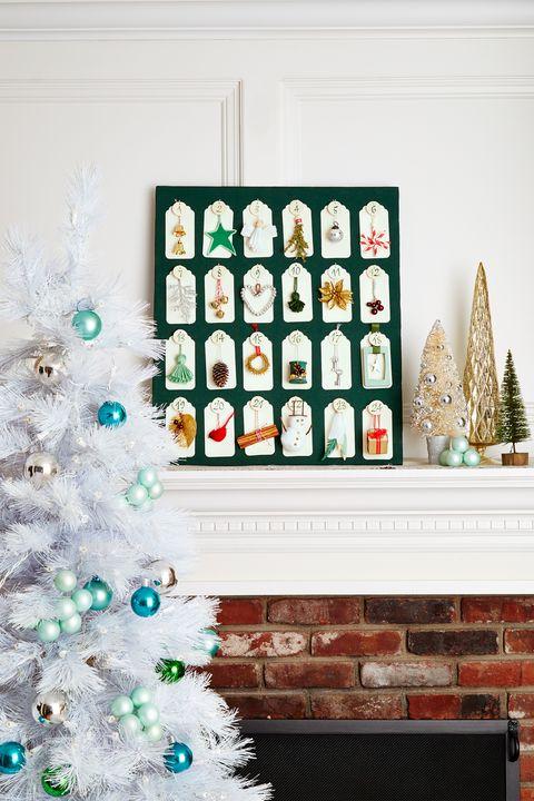 christmas mantel with advent calendar decor