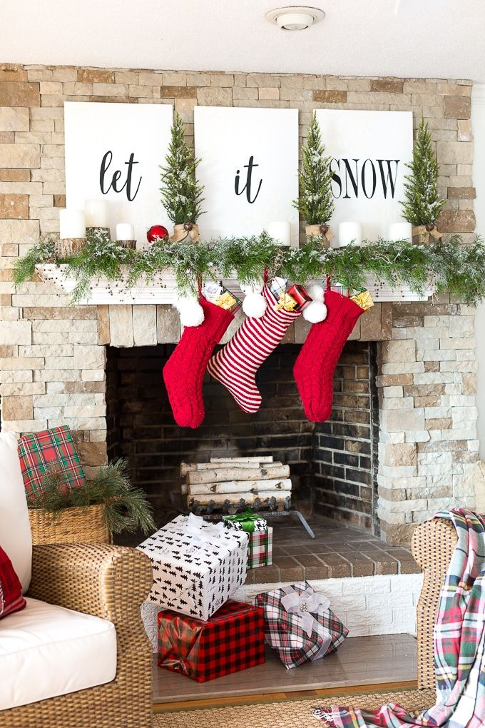 55 Christmas Mantel Decorations - Ideas for Holiday Fireplace Mantel  Decorating - 55 Christmas Mantel Decorations - Ideas For Holiday Fireplace Mantel