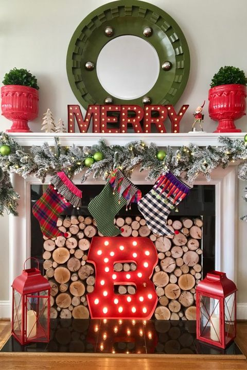 merry monogram christmas mantel - Mantels Decorated For Christmas