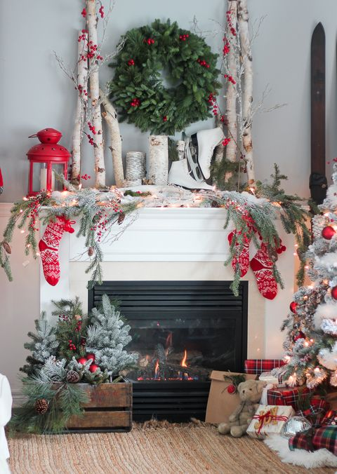 branches berries christmas mantel - How To Decorate A Fireplace For Christmas