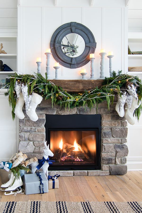 garland lights christmas mantel