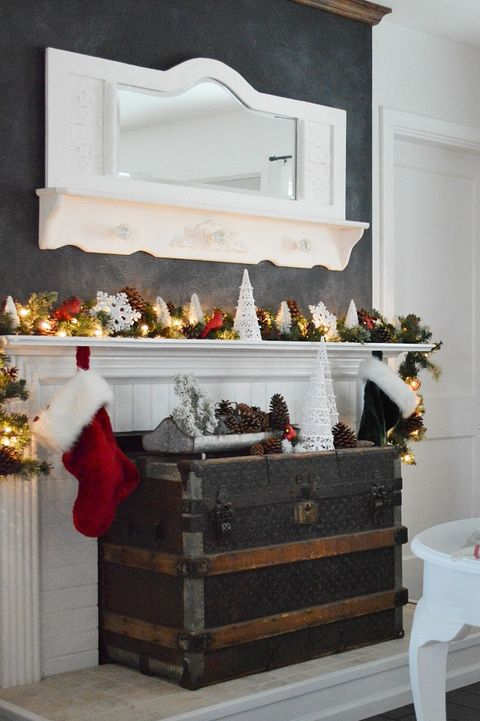 antique display christmas mantel