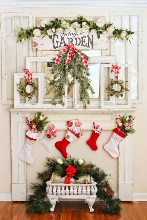 Vintage Decor Christmas Mantel
