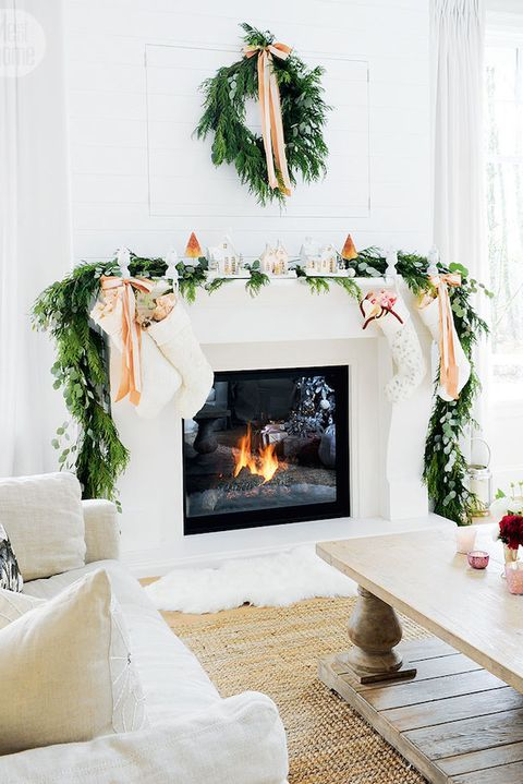white neutral christmas mantel - Images Of Fireplace Mantels Decorated For Christmas