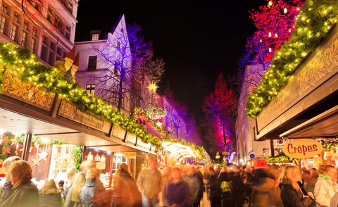 Christmas market and lights in Cologne old town.