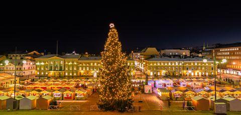 christmas market on senate square in helsinki finland