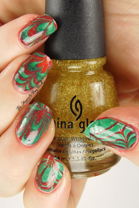 red green marbled christmas nail art - 22 Best Christmas Nail Art Design Ideas 2018 - Easy Holiday Nails