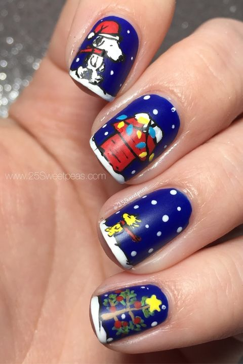 snoopy christmas nail art - 22 Best Christmas Nail Art Design Ideas 2018 - Easy Holiday Nails