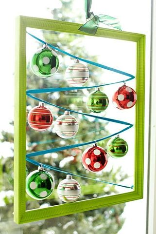 framed christmas ornaments - Diy Christmas Window Decorations