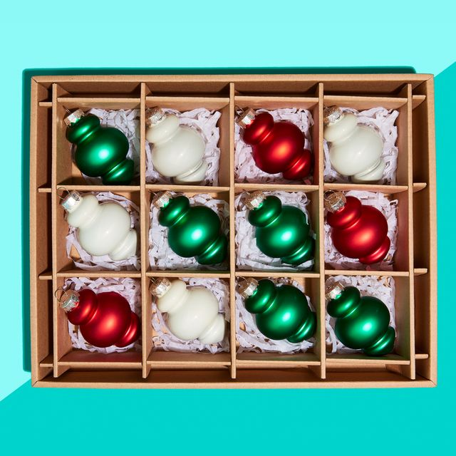 christmas ornaments in storage box