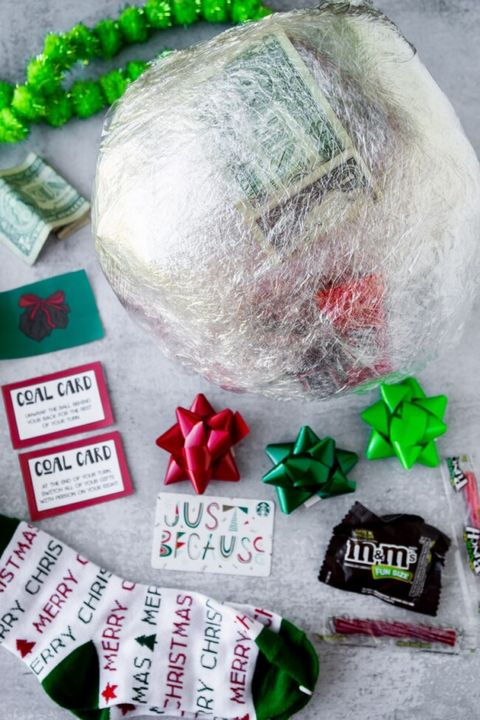 christmas party games saran wrap