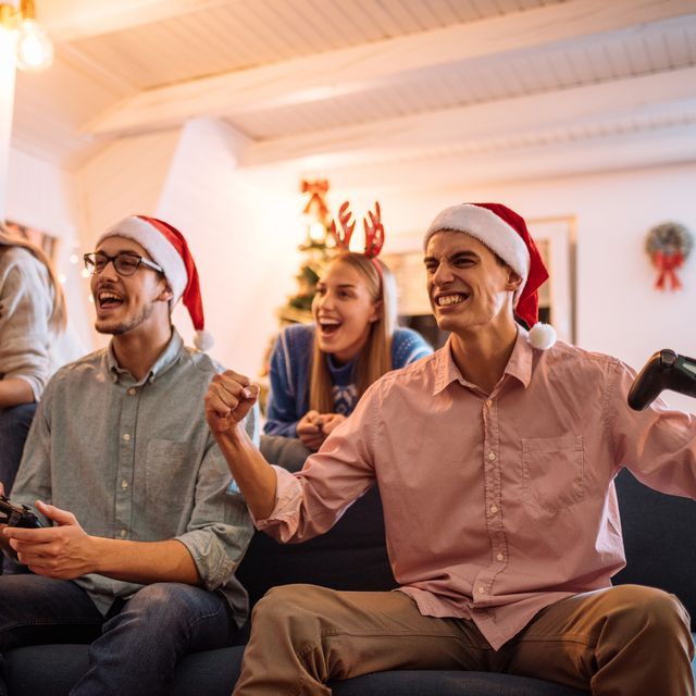 christmas party   generation z is celebrating christmas and playing video games