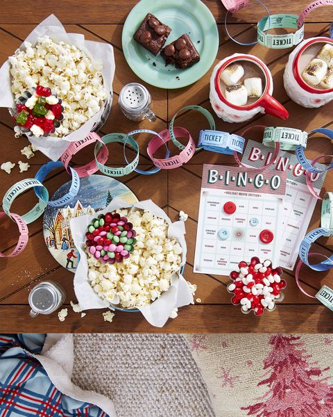 christmas party ideas movie marathon party idea bingo craft and popcorn seasonings