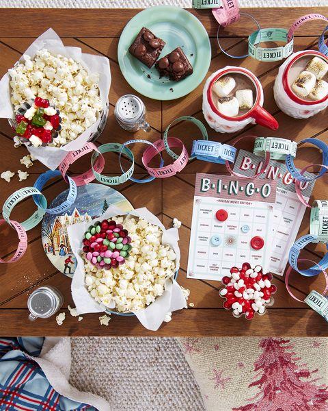 christmas party ideas movie marathon party idea bingo craft and popcorn seasonings