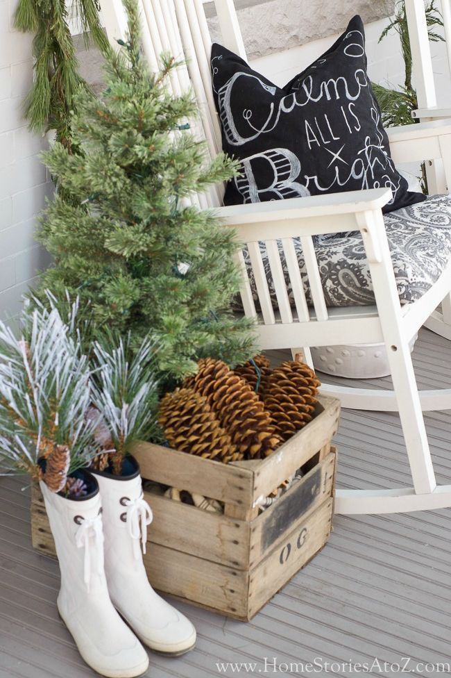christmas porch neutrals