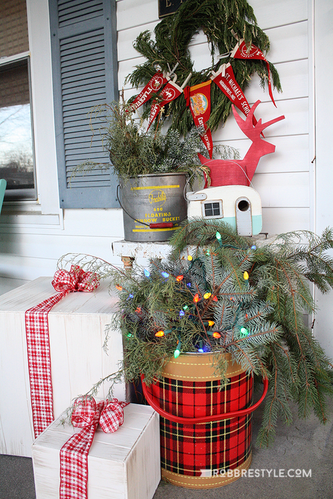 christmas porch vintage