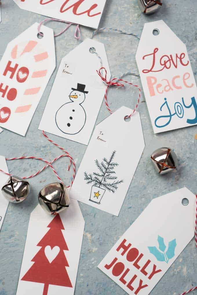 12 Christmas Gift Tags Santa Teddy With Candy Cane Christmas Tags Cookie Tags To And From Tags Bag Tags Favor Tags
