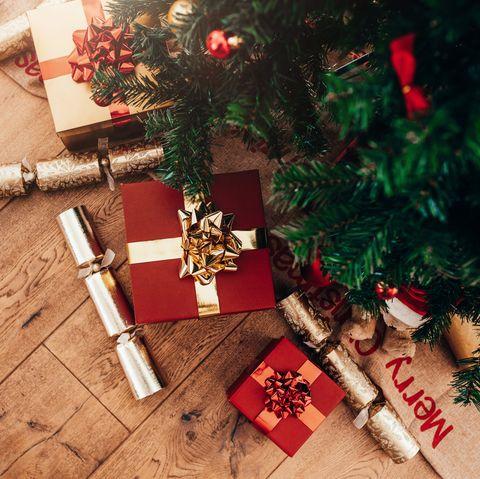 Christmas tree and wood flooring