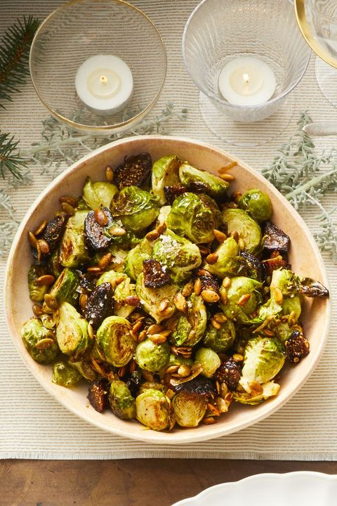 brussels sprouts with pepitas and figs - christmas side dishes