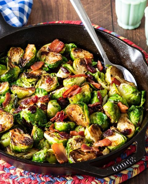 maple bacon brussels sprouts in cast iron skillet