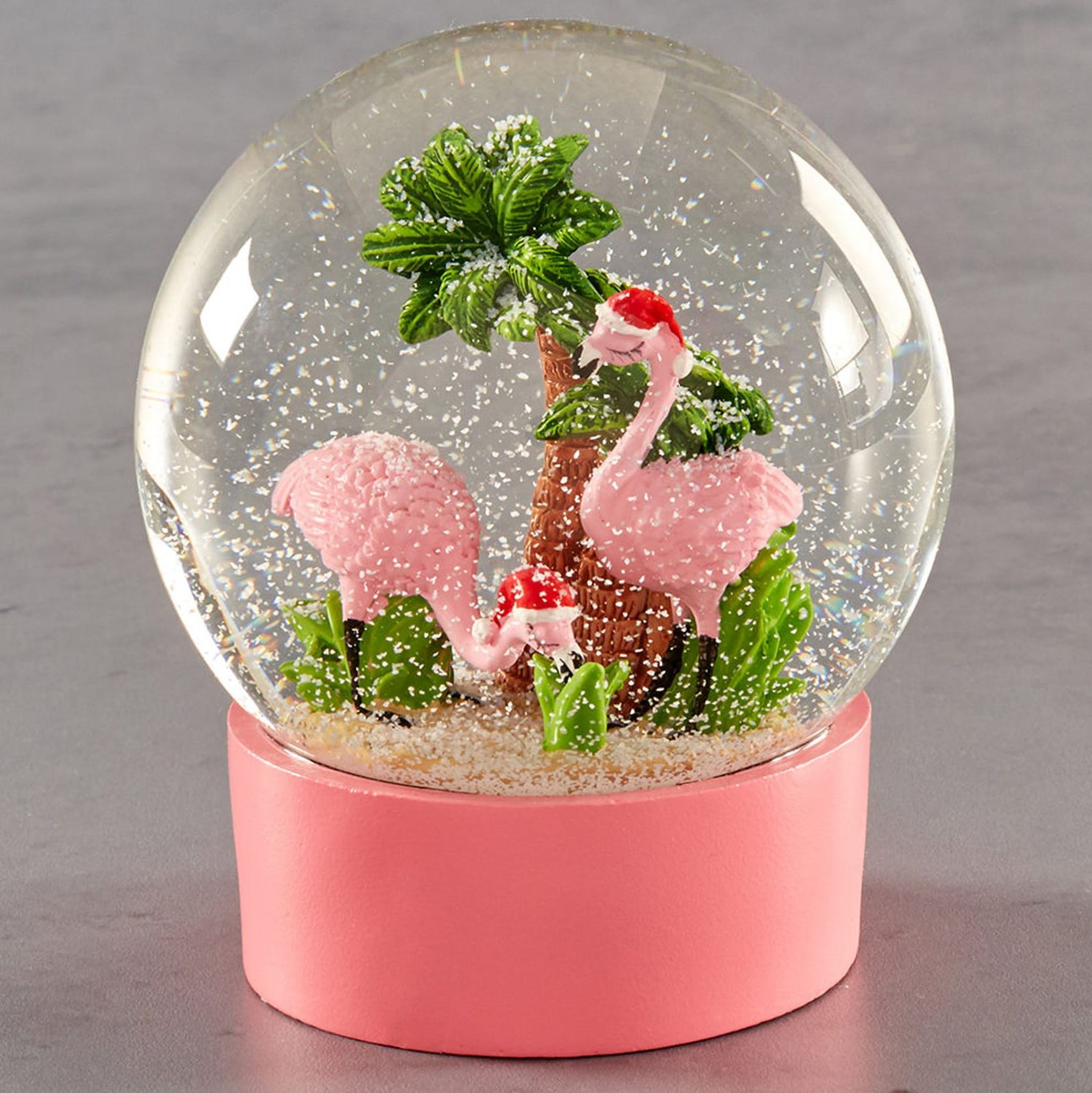 Flamingo Christmas Snow Globe