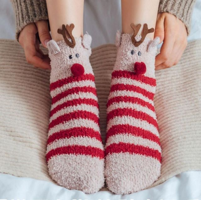 fuzzy reindeer christmas socks