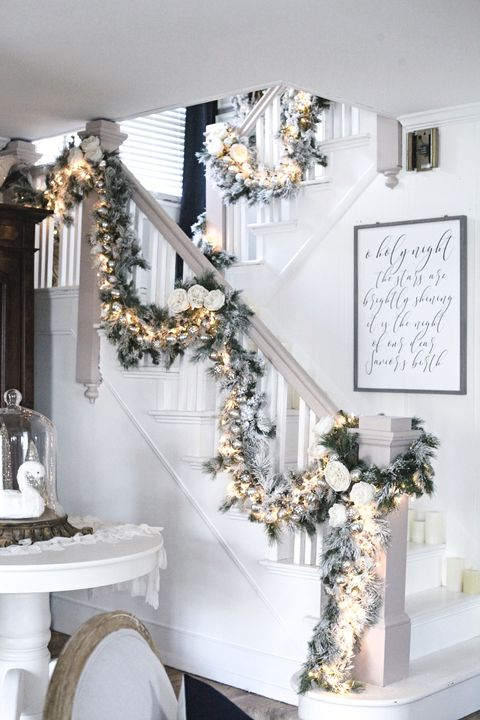 75 Most Popular Staircase Design Ideas For 2019: 13 Perfect Christmas Stair Decor Ideas