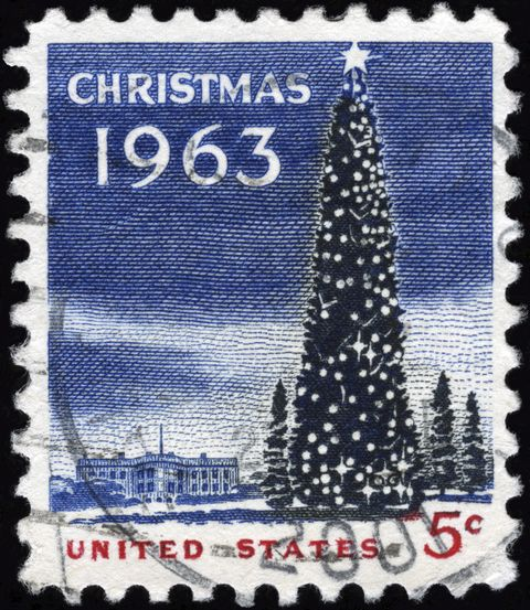 cancelled stamp from the united states christmas   1963
