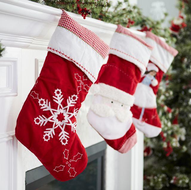 stockings hung on fireplace on christmas eve