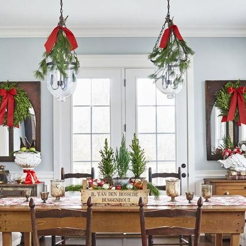 christmas table decorations hanging greenery
