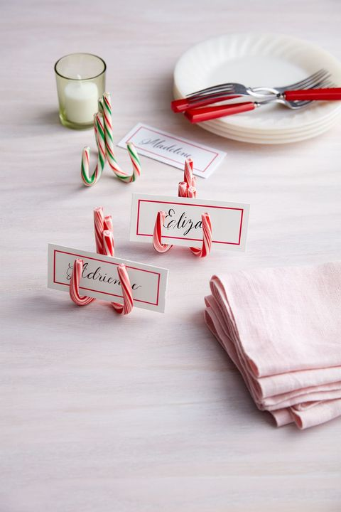 christmas table settings, candy cane place card holders
