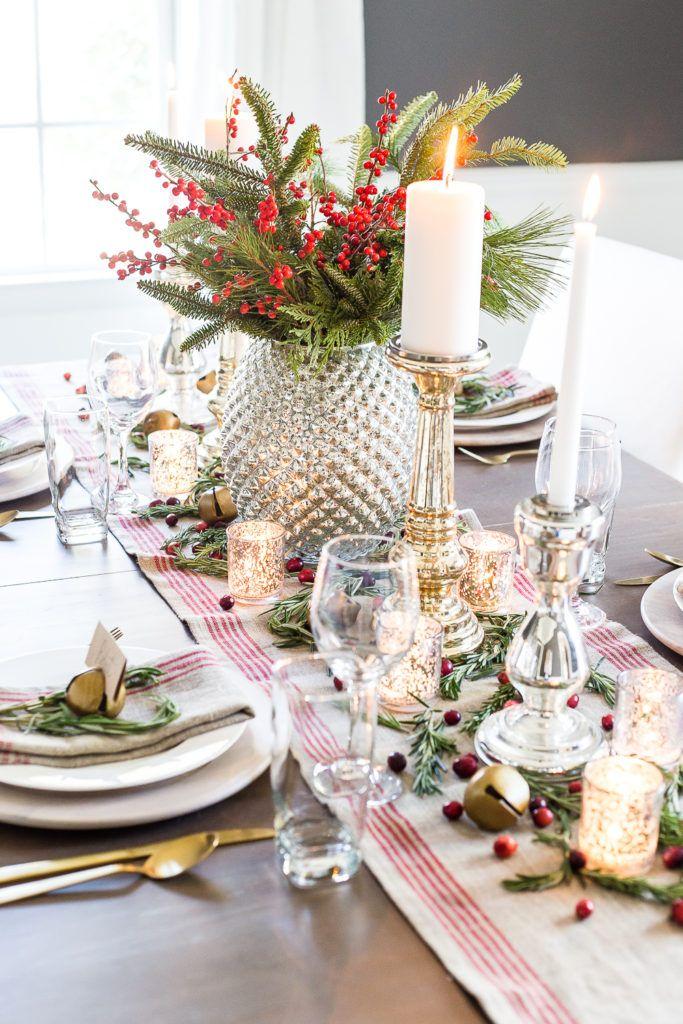 christmas table settings centerpieces mercury glass