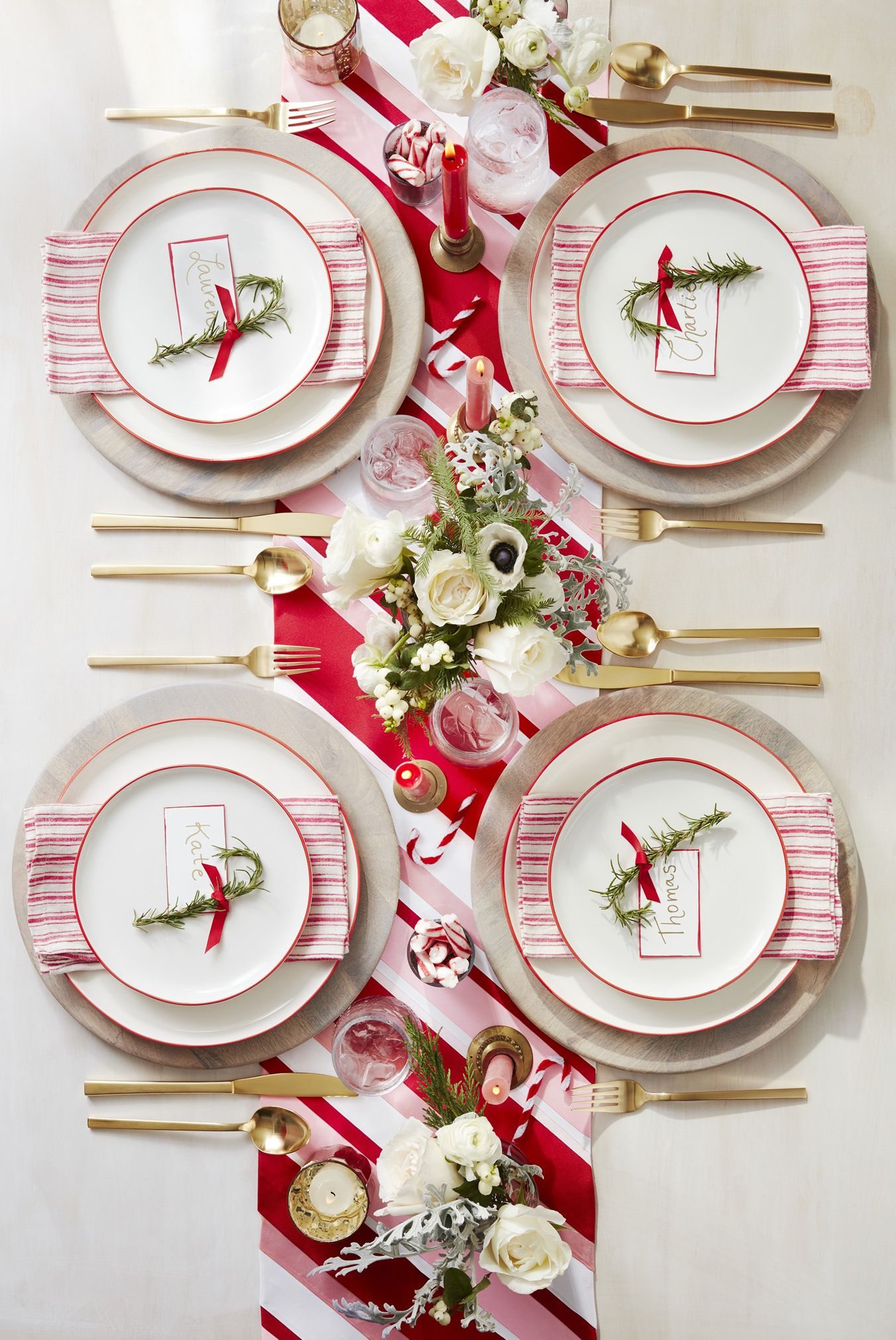 christmas table settings peppermint