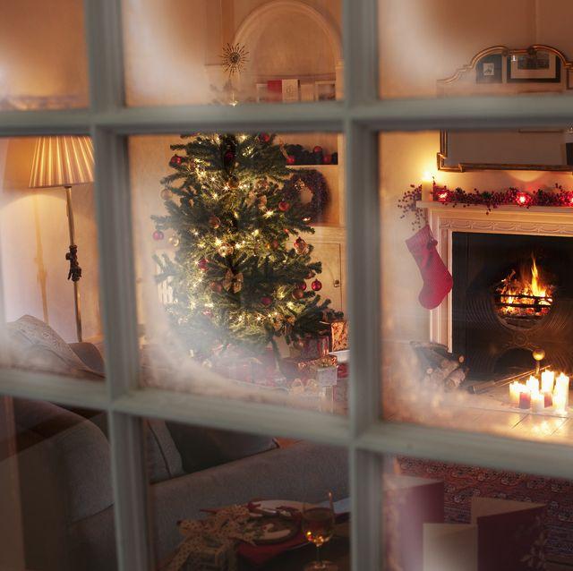christmas tree in living room behind window
