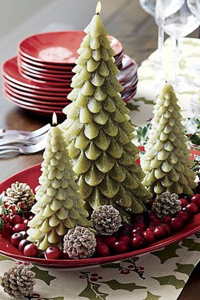 christmas table decorations green tree candles - Green Christmas Table Decorations