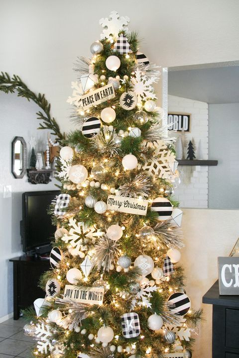 christmas tree decorating ideas black and white - Already Decorated Christmas Trees