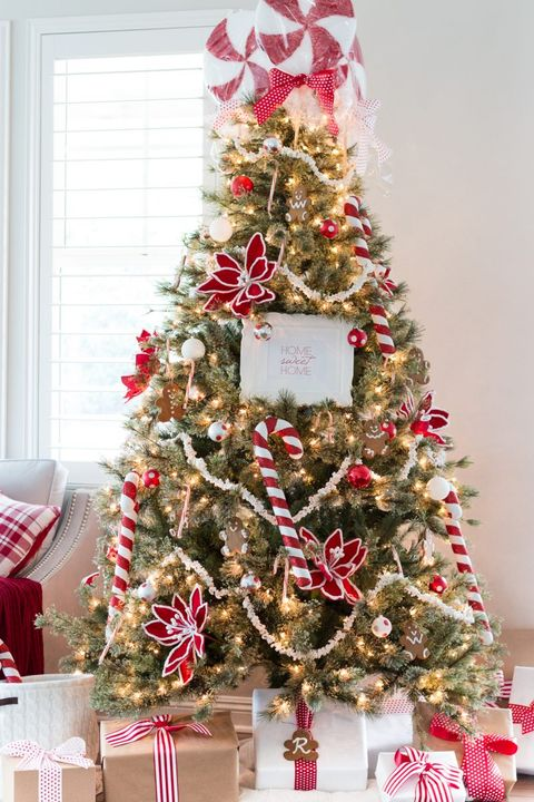 christmas tree decorating ideas candy cane - Christmas Tree With Lights And Decorations