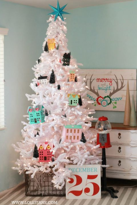 diy christmas village christmas tree decorating idea - Christmas Tree Decorating Ensemble Kits