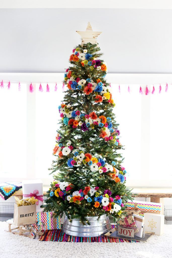 Christmas Tree Decorating Ideas Flowers