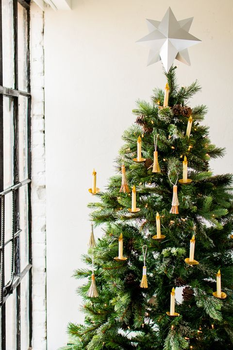 paper candle tassel christmas tree decorating idea