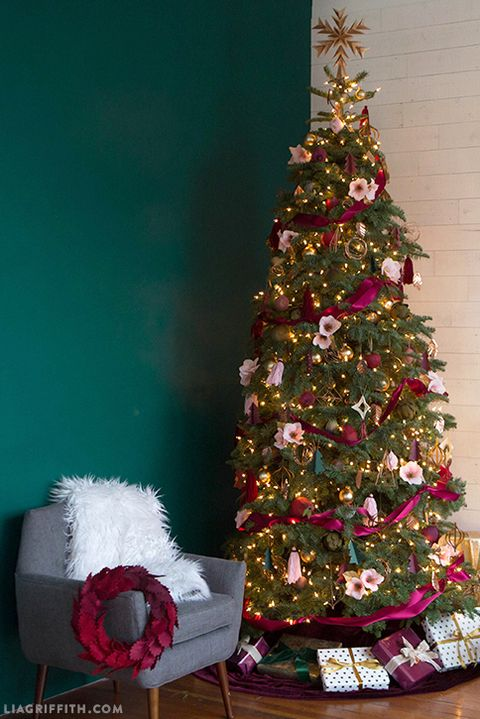 christmas tree decorating ideas pink