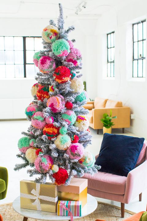 pom pom christmas tree decorating idea - Frosty Blue Christmas Decorations
