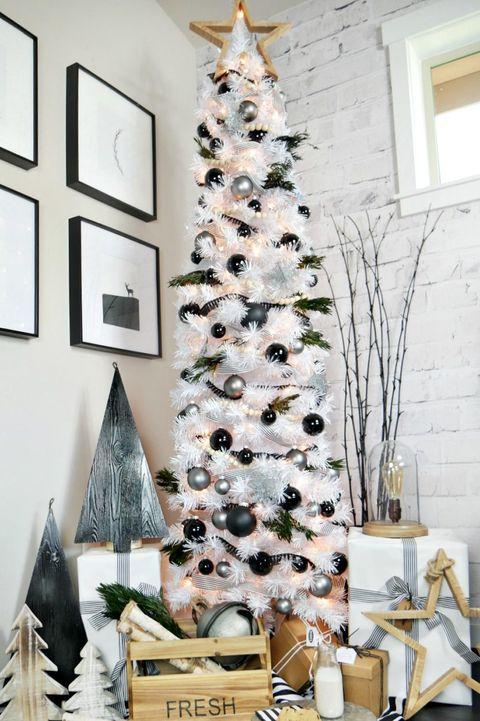 christmas tree decoration ideas modern black and white