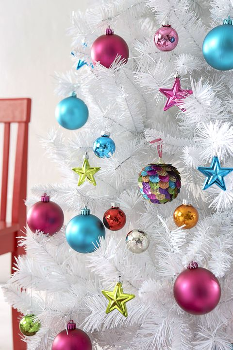 christmas tree decorations faux white christmas tree with multicoloured baubles and stars