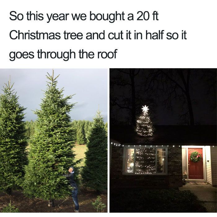 christmas tree in half - christmas memes