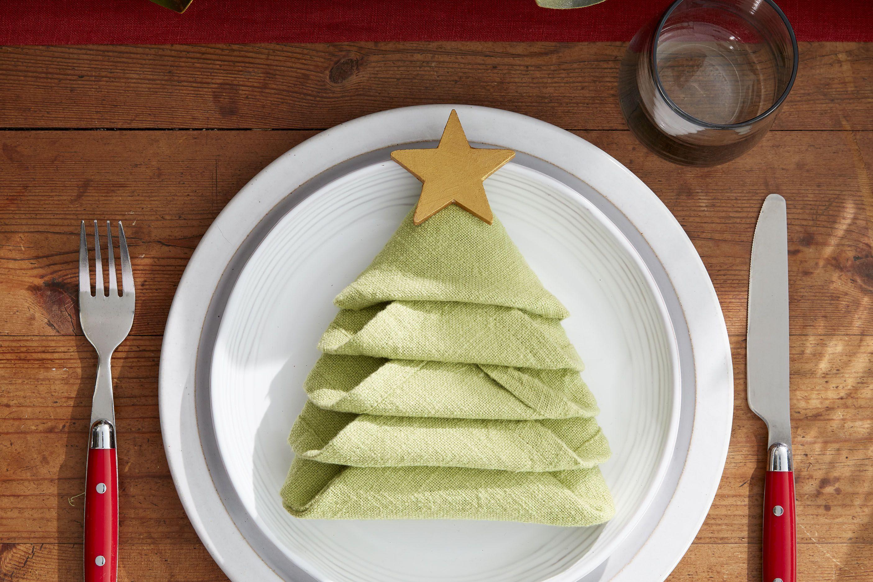 How To Make A Christmas Tree Napkin Fold All The Steps To Folding A Napkin Into A Diy Christmas Tree