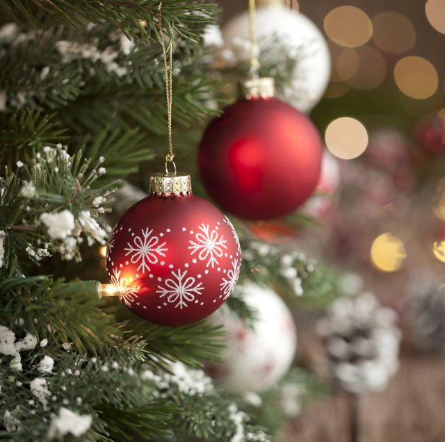 christmas tree, ornaments and defocused lights background